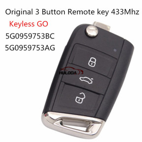 Original For VW golf MK7 3 Button remote control FCCID is 5GO959753BB  with 433MHZ with ID48chip