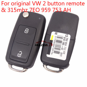 Original for VW 2 button remote key with 315mhz & ID48 chip  7EO959753AH
