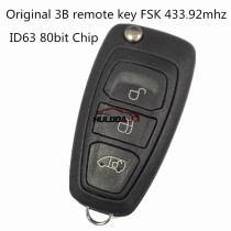 For Original Ford 3 Button remote key with 433.92Mhz FSK ID63 80bit Chip  BK2T-15K601-AA/AB/AC A2C53435329