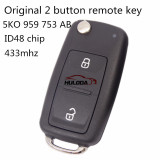 For Original VW 2 button remote key with 433mhz & ID48 glass chip           5KO959753AB