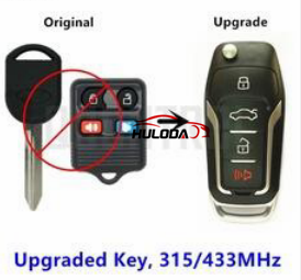 For ford remote key 3+1 button upgraded key,Modified electronic 315mhz or 433mhz , please choose.