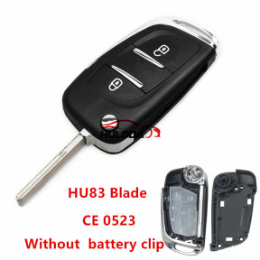 For Peugeot  2 button modified replacement key shell without  battery clip with HU83 blade