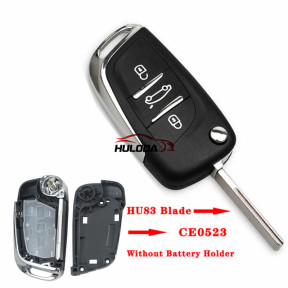 For Peugeot  3 button modified replacement key shell without battery clip with HU83 blade
