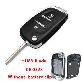 For Peugeot 2 button modified   replacement key shell   Without battery clip with VA2T blade
