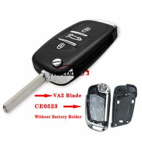 For Peugeot 3 button modified replacement key shell   Without  battery clip with VA2T blade