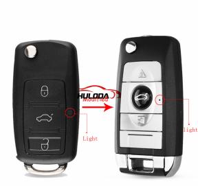 For VW 3 Button Remote Flip Folding Car Key Shell No Blade