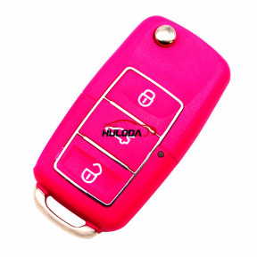 For VW 3 button  waterproof  remote key blank with Pink color,used for VW Seat ,Skoda, Jetta, Golf, Passat, Beetle, Polo, Bora, Octavia