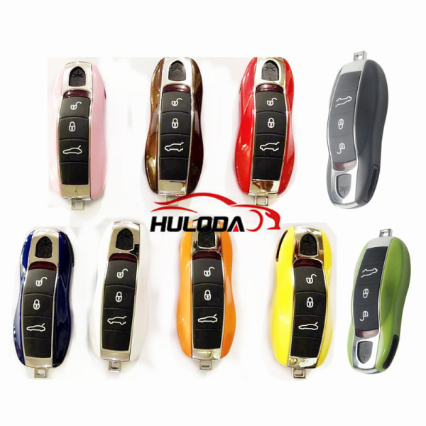 For Porsche 4 Button Color  Smart  Remote Key shell, for Cayenne Cayman Macan Blank,have 7 colors to choose White, orange, red, pink, yellow, royal blue, brown