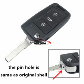 for VW 3 button flip remote key blank, with HU66 blade, the pin hole is same as original shell