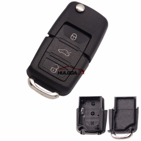 VW B5 style 3 button remote key blank , without battery clamp, the blade is HU66