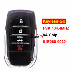 For toyota 4 Button Keyless-Go Remote Car Key Board 61E066-0020 8A Chip FSK 434.4MHz for Toyota Camry Southeast Asia 2015-2018 TOY12 Blade