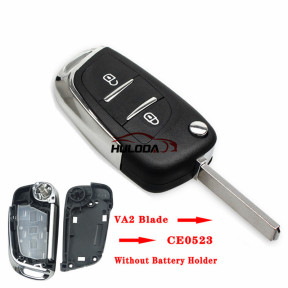 For citroen 2 button modified   replacement key shell   Without battery clip with VA2T blade