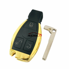 For Benz BGA 3 button remote  key blank,The metal part is golden