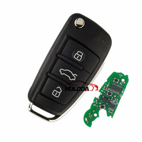 For Audi A4 S4 RS4 3 button remote key with 433Mhz Ask ID48 chip   8E0 837 220Q 8E0 837 220K  8E0 837 220D