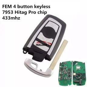 For BMW FEM 4 button keyless remote key 7953 Hitag Pro chip with  868mhz