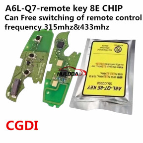 For Audi A6L Q7 3 button remote key with 8E chip 315mhz & 434mhz FSK 4FO837220M without handsfree system  2005-2011,only the PCB  CGDI,Can Free switching of remote control frequency 315mhz&433mhz