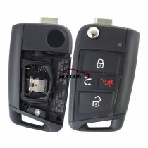 VW golf 7 3+1 button remote key with 315mhz MQB48 chip 5G6 959 752 AC  IC:2694A-FS12A01 FCCID: NBGFS12A01