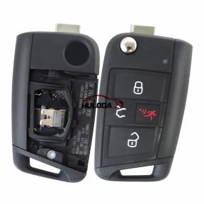 VW golf 7 3+1 button remote key with 315mhz MQB48 chip 5G6 959 752 AC  IC:2694A-FS12A01 FCCID: NBGFS12A01