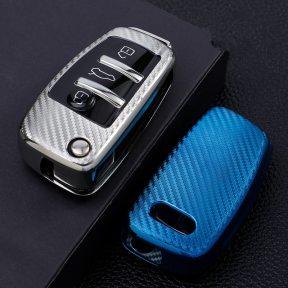 Soft Carbon Fiber TPU Car Key Cover Case Skin Protective Shell Holder for Audi C6 A7 A8 R8 A1 A3 A4 A5 Q7 A6 C5 3 Buttons Key