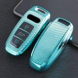 Soft Carbon Fiber TPU Car Key Cover Case Skin Protective Shell Holder for AUDI A6L A7 A8 2018-2019 Key