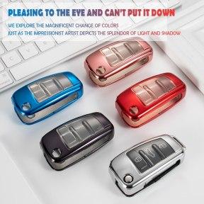 TPU Car Key Fob Full Cover Case Bag Shell Skin Keychain Holder for Audi C6 A7 A8 R8 A1 A3 A4 A5 Q7 A6 C5 Auto Styling Accessorie