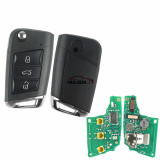 For VW  MQB platform 3 button Keyless flip remote key  with AES ID48 chip-434mhz & HU66 blade, used for T-Cross,  ect KYDZ
