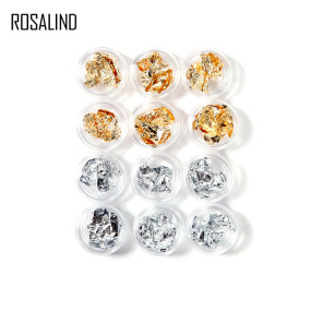 Rosalind 12 Pot/Set Gold Silver Foils Glitter Sticker Nail Decoration