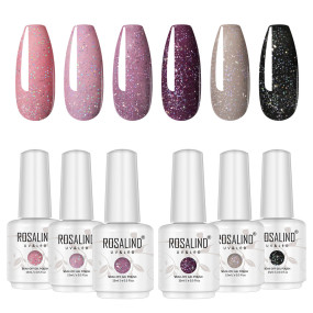 Rosalind 15ML Glitter Neon Series Gel Nail Gel Set