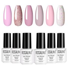 Rosalind 7ML 6PCS Pinky Shimmer Series Nail Gel Kits