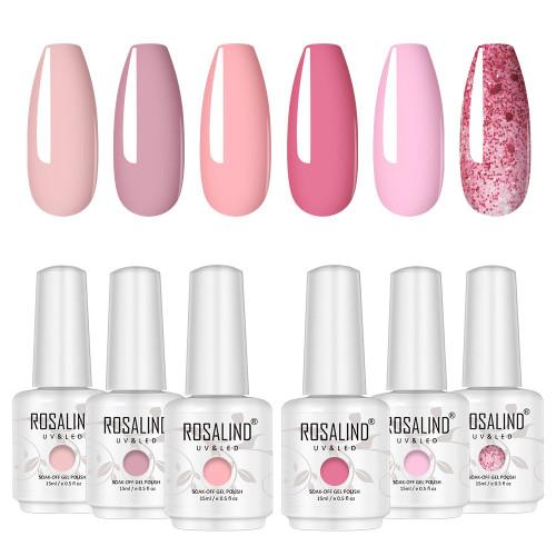 Gel Nail Polish Set Pink Glitters Series 6 Colors Gel Polish Nail Art Gift Box Soak Off Nail Gel Uv Nail Gel Manicure Nail Art Kit