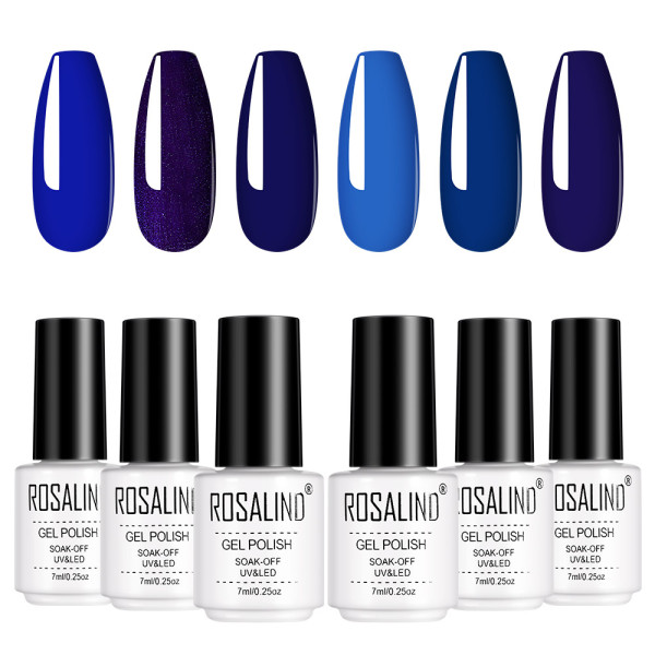Rosalind 7ML 6PCS Ocean Blue Gel Nail Gel Kits