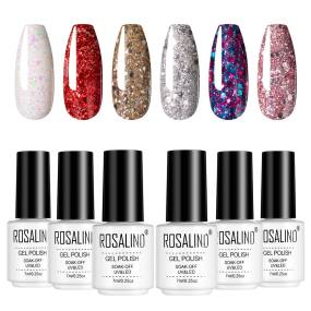 Rosalind 7ML 6PCS Sparkly Diamond Series Nail Gel Kits