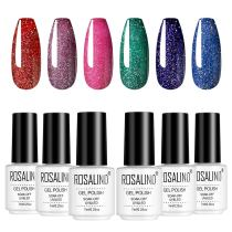 Rosalind 7ML 6PCS Rainbow Holiday Series Nail Gel Kits