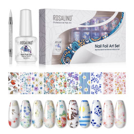 Rosalind Flower Nail Art Foil Transfer Stickers with Transfer Gel