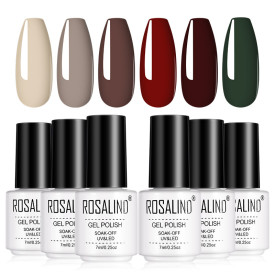 Rosalind 7ML Burgundy Red Nude Green Autumn Collection Nail Gel Set