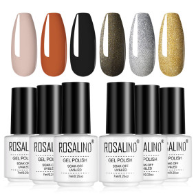 Rosalind 7ML Fall Nude Glitter Gold Silver Glitter Series Nail Gel Kit