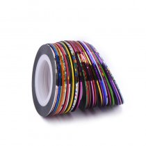 30Pcs/Lot Multicolor Mixed Colors Rolls Striping Tape Line Nail Art Decoration Sticker