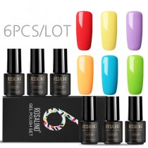 (6PCS/LOT) Pure Color Gel Nail Polish Gift Box 7ml