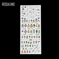 ROSALIND DIY Water Transfer Nails Art Sticker Colorful Purple Fantasy Flowers Nail Wraps