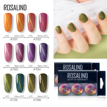 (6 PCS/LOT)ROSALIND 5ml Temperature Color Changing Cat Eye Nail Gel Set Varnish Hybrid Magnetic For Nail Art
