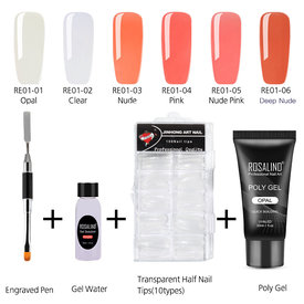 ROSALIND Nail Art Kit Poly Gel Nail Tips Extension Finger Tools Set(Poly Gel + Nail Liquid + Model Nail Tips + Dual Head Nail Brush)