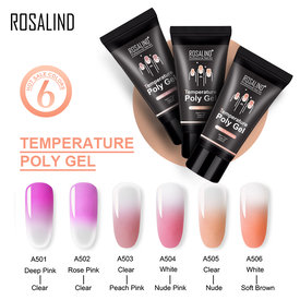 ROSALIND Thermal Poly Gel Of Nails Extension Temperature Change Acrylic Builder Hybrid Varnish Base Top Gel Nail Polish For Manicure Set
