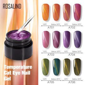 ROSALIND 5ml Temperature Color Changing Cat Eye Nail Gel Varnish Hybrid Magnetic For Nail Art