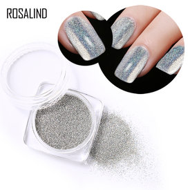 2g Laser Silver Holographic Shiny Powder Magic Mirror Powder Nail Glitters Nail Art Sequins Chrome Pigment Nail Polish Dust