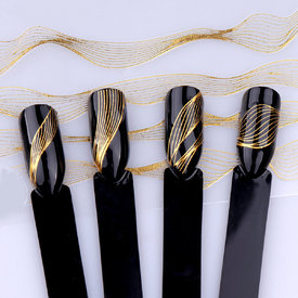 3D(6pc/pack) Rosalind Nail Art Sticker Laser Gold Black Metal Stripe Wave Line Tape Self-Adhesive Transfer Foils DIY Nail Decor