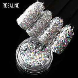 ROSALIND Nails Accessoires Holographic Chrome Pigment Luminous Powder Paillette Sparkle Manicure Sequin Set