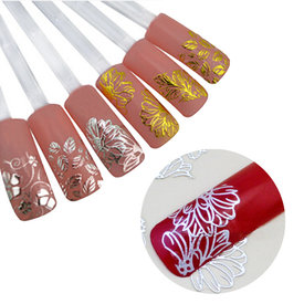 ROSALIND  Laser Rose Gold Matte Metal Foil Nails Holographic Flower Nail Sticker Sky Nail Foils Transfer Sticker DIY Manicure Decals