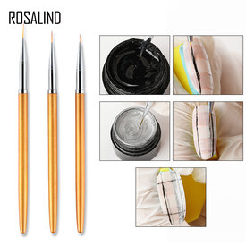 3Pcs/set ROSALIND Gel Nail Art Line Painting Brushes Acrylic Thin Liner Drawing Pen Nail Art Manicure Tools Set