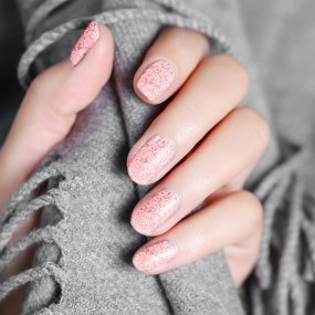 Luminous Rose Gold Gel Glitter Nail Gel