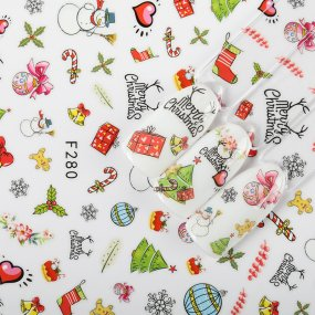 1 Sheet New Year Christmas Water Transfer Santa Claus Snowman Nail Art Stickers